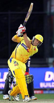 Chennai Super Kings' Matthew Hayden plays a shot during the IPL T20 match against Delhi Daredevils at Firozshah Kotla Stadium in New Delhi on Friday. Aman Sharma / PTI