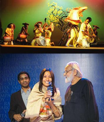 Beyond language: (top) A still from Guti Phulor Gamusa; and Phukan at the Meta awards with the best director trophy. Photographs Courtesy Meta