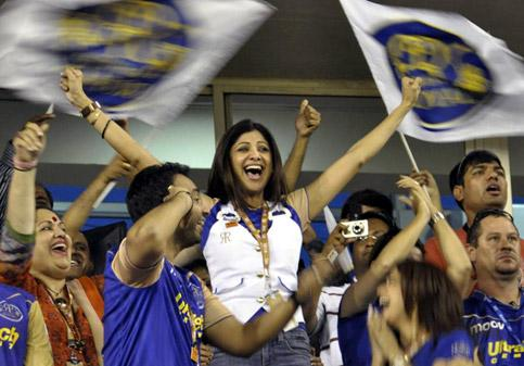 Rajasthan Royals' co-owner Shilpa Shetty celebrates after her team's victory over Chennai Super Kings during the Indian Premier League3 match in Ahmedabad on Sunday. PTI