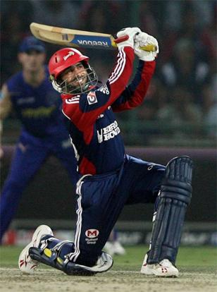 Delhi Daredevils' Dinesh Karthik plays a shot during the IPL3 match against Rajasthan Royals at the Ferozshah Kotla stadium in New Delhi on Wednesday. Manvendra Vashist/PTI