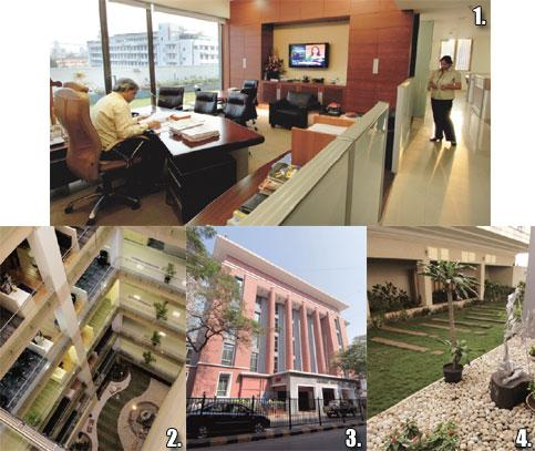 Open book: 1. Sumit Banerjee, CEO, ACC Ltd, in his open office; 2. the central atrium has enhanced fire safety; 3. the 70-year-old facade of Cement House; and 4. the green terraces have energy-saving