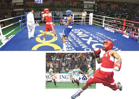 Populist: (clockwise from above) The final day of the Commonwealth Boxing Championship; boxer Suranjoy Singh; and India at the Hockey World Cup. Photographs by Kamal Kishore / PTI, Saurabh Das / AP a