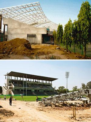 Positive effect: Table tennis and rugby facilities are being upgraded at Jamia (top) and Delhi University for the Commonwealth Games. Sanjay Arora/Mint