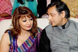 Minister of state for external affairs Shashi Tharoor with Sunanda Pushkar at a book release function in New Delhi. (File photo / PTI