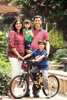 Hill destination: Arshia and Samir Ladak with Zehra and Zahaan (on the cycle)—they're all looking forward to their holiday in Kashmir. Jagadeesh / Mint