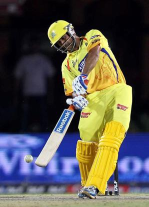 Chennai Super Kings skipper Mahendra Singh Dhoni play a shot during the IPL T20 match against Kings XI Punjab in Dharamshala on Sunday. Manvender Vashist/PTI