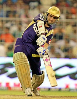 KKR Captain Sourav Ganguly plays a shot during IPL Match at Eden Garden in Kolkata on Monday . Ashoke Bhaumik / PTI