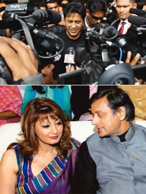 The players: (top) IPL commissioner Lalit Modi's fate will be decided at the end of the tournament. Marvender Vashist / PTI; and Shashi Tharoor stepped down as the minister of state for external affai