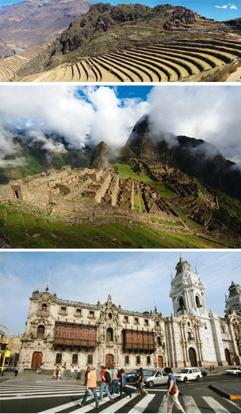 The sites: (above) The Lima Cathedral, Karel Navarro / Bloomberg; (middle) Machu Picchu, Roger Parker / Bloomberg; (top) and the Inca terraces of Pisac, Martin St-Amant / Wikimedia Commons