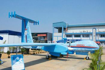 Unmanned aerial vehicle: DRDO's Rustom prototype displayed during Aero India 2009 at Air Force Station Yelahanka, Bangalore. Hemant Mishra/Mint