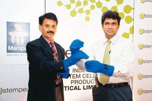 Applied research: Stempeutics president B.N. Manohar (left) and Cipla's Jaideep Gogtay with the stem cell product, STEMPEUCELcli.