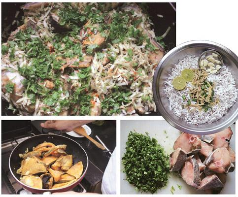 Mouthfuls of nostalgia: (clockwise from top right) Grated coconut, chillies, ginger, garlic and lime make the bhoozana a fragrant feast; use firm fish such as black pomfret; the tossing needs a bit of