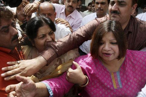 Madhuri Gupta comes out after her hearing in a court in New Delhi on Saturday. AFP Photo