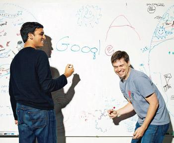 New designs: (from left) A file photo of Nundu Janakiram and Jon Wiley, senior user experience designer of Google, sharing a light?moment at the firm's headquarters in Mountain View, California. Bryce