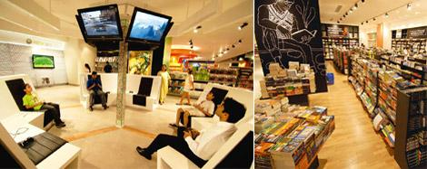 Versatile: (left) There is a gaming area before the books section begins; sketches and artworks adorn the walls. Abhijit Bhatlekar / Mint