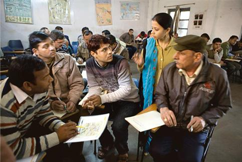 The drill: An English-language class for policemen in New Delhi. Madhu Kapparath / Mint
