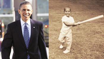 Rites of passage: Remnick speaks to many critics of Obama (left). Photo: Charles Dharapak/AP; Obama swinging a baseball bat as a child. Photo: Reuters