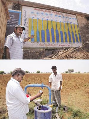 Water table: (top) G. Nagaraju, a hydrological facilitator, explains a chart comparing rainfall figures with groundwater levels at Krishnapuram village in Kurnool district of Andhra Pradesh; (below) K