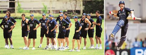 Winner takes it all: (extreme left) The English team at a training session ahead of their first match at the 2010 Twenty20 World Cup. Indranil Bhoumik / AP; and the triumphant English captain Paul Col