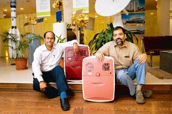 Tailor-made: G. Sunderraman and Sanjay Lonial with the ChotuKool, a low-cost refrigerator designed for India's poorest households. Abhijit Bhatlekar/Mint