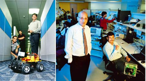 Chip magic: (left) Rajesh and his team see the wireless-controlled toy car in action; and (right) Rajeev Mehtani, Cypress senior vice-president, India operations, in the R&D centre. Photos: Hemant