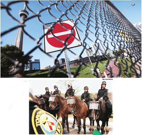 Alpha city: (above) A security fence for the upcoming G-20 summit; and the Toronto Police Mounted Unit will provide security during the summit. Mark Blinch (Above) and Mike Cassese/Reuters