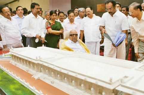 Tracing roots: A May picture of Tamil Nadu chief minister M. Karunanidhi inspecting the model of the exhibition hall to be constructed for the World Classical Tamil Conference in Coimbatore, which sta