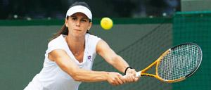 Bullseye: Bulgaria's Tsvetana Pironkova hits a return to Venus Williams of the US at Wimbledon. Reuters