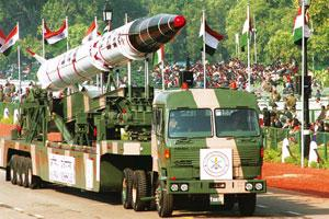 Monster: The nuclear warhead-capable Agni-II missile has a range of 2,500km. HC Tiwari/Hindustan Times