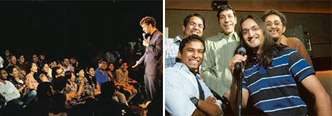Spreading cheer: (left) A performance at The Comedy Store in Mumbai; and Cheese Monkey Mafia during a recent open-mic event in New Delhi. Priyanka Parashar / Mint