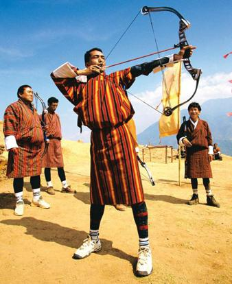 For the love of it: Traditional Bhutanese archery is more of a circus than a cold, competitive sport, with rival teams being allowed to jeer at each other. R Ian Llyod / Masterfile