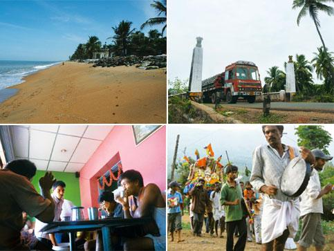 Konkan colour: (from top left) Ullal beach; Aghnashini bridge, Karnataka; a procession in Coorg; and the breakfast crowd at a tiny eatery, north of Shimoga. Photographs: Dilip D'Souza