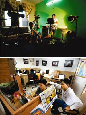 Humble beginnings: (top) The recording room and (above) newsroom of Mizzima. The agency started 12 years ago with a laptop and three reporters, all student activists who had fled Myanmar soon after th
