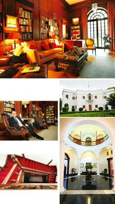 Past life: (clockwise from top) The library is a favourite with Pakistani diplomats; the house is set amid 3 acres of greenery; this central hexagon was Jinnah's living room--the details on the balust