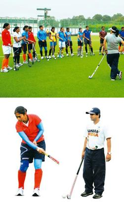 Sticking on: (clockwise from top) The Indian women's hockey team is preparing for the World Cup and Commonwealth Games at a camp in Patiala; coach in charge Somesh; and captain Surinder Kaur. Photos: