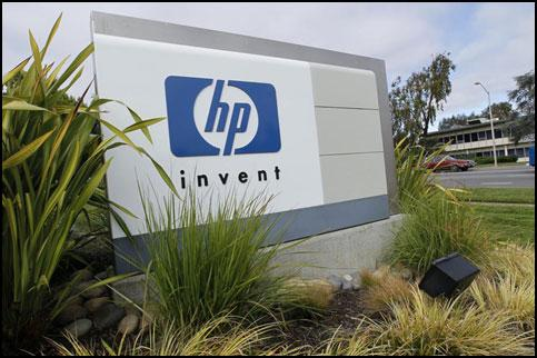 A sign stands outside the Hewlett-Packard Co. headquarters in Palo Alto, California, US. File photo / Bloomberg