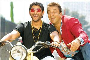Role branding: Munna Bhai (right, played by Sanjay Dutt) and Circuit (Arshad Warsi) in a still from Lage Raho Munna Bhai. Vinod Chopra Films has filed applications to trademark the two names.