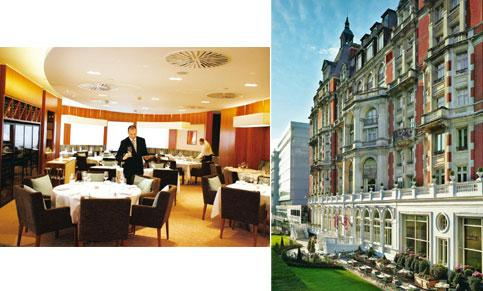 Top pick: (left) For some mysterious reason, Proyart's One-O-One is yet to earn a Michelin star. Simon Dawson/Bloomberg; and Mandarin Oriental at Knightsbridge houses Bar Boulud. Bloomberg