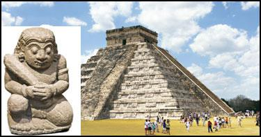 Ancient art: (extreme left) A Mayan statue at the main temple of Chichén Itzá.  Photographs by Thinkstock