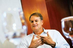 Hard sell: eBay chief executive John Donahoe says the company will provide SMS-based solutions to buyers in India without Internet access. Pradepp Gaur / Mint