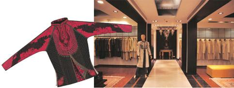 Luxury central: (left) The Alika jacket; and an entire floor is dedicated to men's wedding-wear and pret lines.
