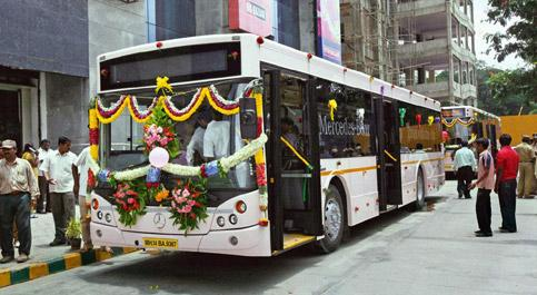 Spiffy: These luxury buses are being tried out on the Bangalore airport route. PTI