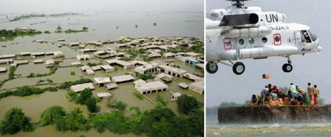Catastrophe: An aerial view of the flooded Sindh province. Vincent Thian/AP; and (top) a UN helicopter drops relief material at Chandan village in Dadu district. Deshakalyan Chowdhury/AFP