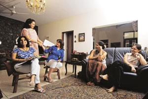 Help at hand: Jaishri Sivaraman (extreme left) and Vanessa Ohri (third from left) host a counselling session. Pradeep Gaur/Mint