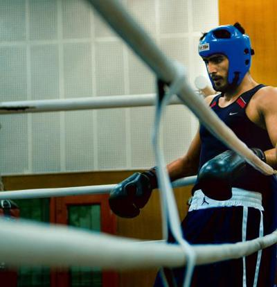Leading the pack: Olympic bronze medallist Vijender Singh in training.