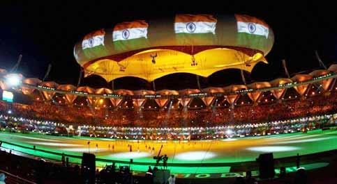 Indian national flag is projected on the aerostat during the closing ceremony of the 19th Commonwealth Games at the Jawaharlal Nehru Stadium in New Delhi. Manvender Vashist / PTI photo