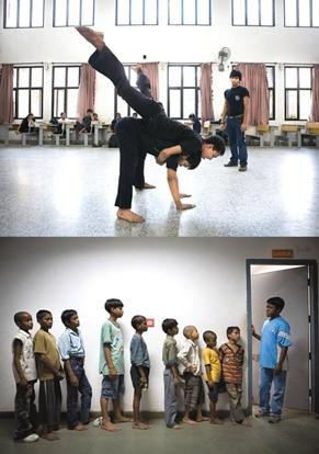 Eyes on the stage: (above) Kumar oversees Salaam Baalak children rehearsing a dance piece; and aspirants line up for theatre auditions at the Armaan children's home. Photographs by Madhu Kapparath/Min