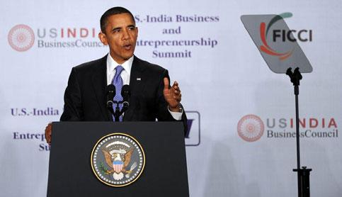 US President Barack Obama speaks at the US-India Business Council and Entrepeneurship Summit at the Trident Hotel in Mumbai on Saturday. Tim Sloan / AFP Photo