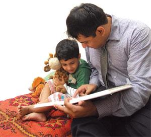 Quality time: Sayan Guha tries to spend as much time as he can with his two-year-old son Soham. Priyanka Parashar/Mint