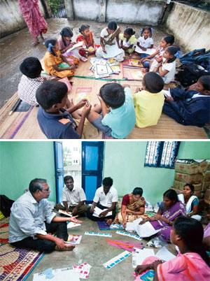 The guides: (Top) Students at a centre run by the non-profit Association of India's Development; (above) teachers at a training programme. Ganesh K/Mint